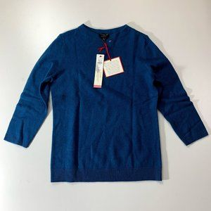 NWT Talbots Cashmere Blue Green Teal Sweater P